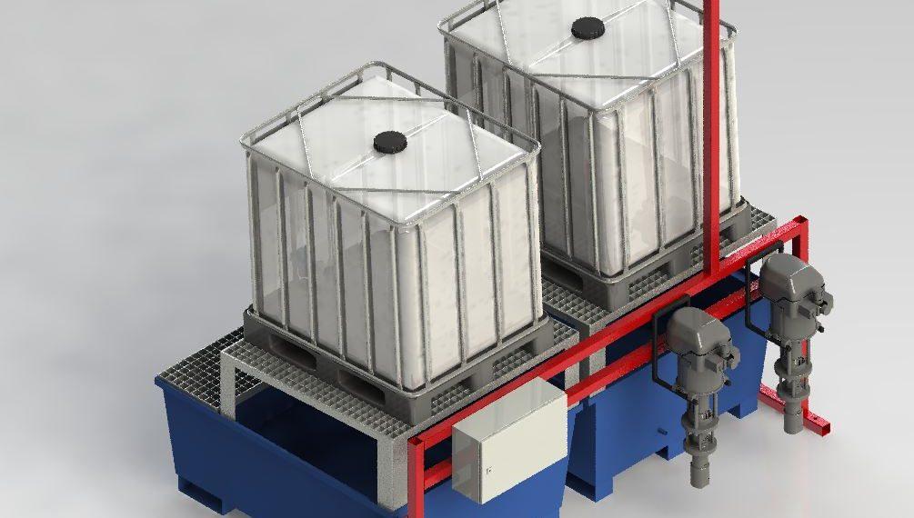 IBC Container- und Pumpenstation Klebstoff